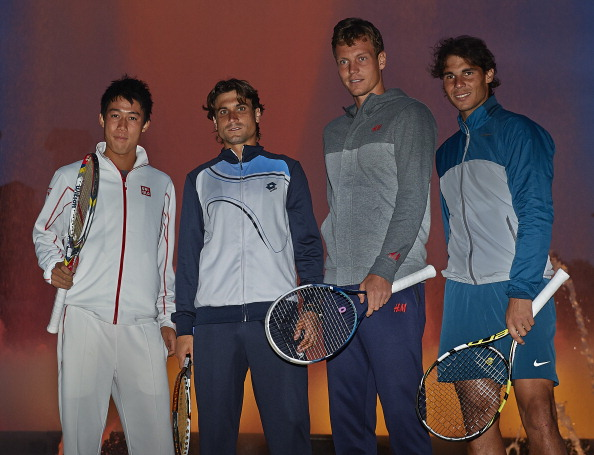 Kei Nishikori, David Ferrer, Tomas Berdych  and Rafael Nadal  stand in front the Font Magica