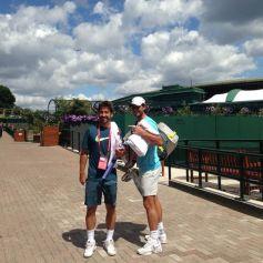 Rafael Nadal and Marc Lopez - Wimbledon 2014