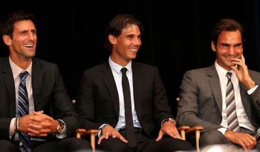 Novak Djokovic, Rafael Nadal and Roger Federer have a laugh on stage during the No. 1 Celebration. ©Ella Ling
