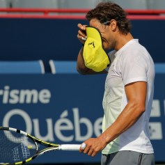 Rafa is so angry with himself that he proceeds to smash his racquet...