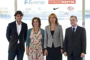 Rafael Nadal with Madrid mayor Ana Botella, his mother Ana Maria Parera, and Real Madrid president Florentino Fernandez. Photo: Carlos Alvarez/Getty Images Europe