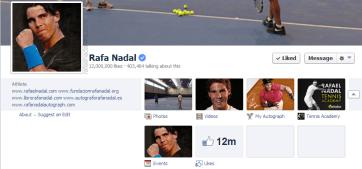 Rafael Nadal 12 million Facebook