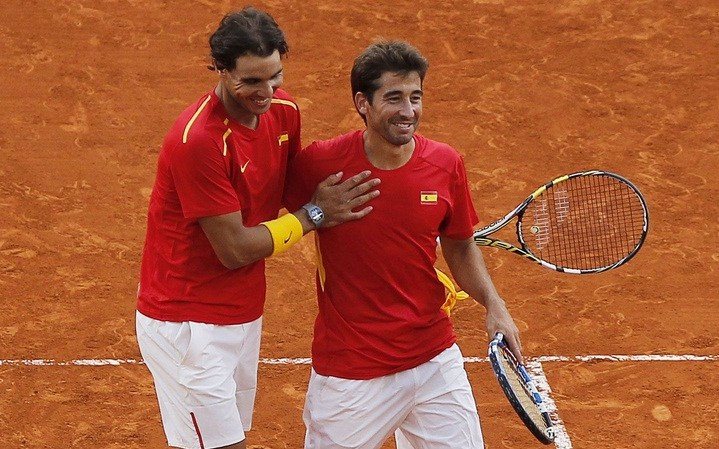 Rafael Nadal and Marc Lopez - Davis Cup - Spain Ukraine (8)