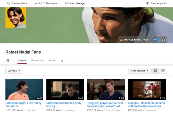 YouTube: Rafael Nadal Fans