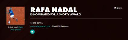Help Rafael Nadal Win A Shorty Award