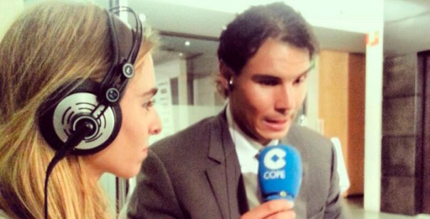 Rafael Nadal with Helena Condis. Photo via Cope.es