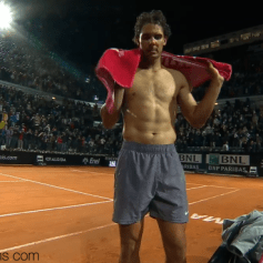 Shirtless Rafael Nadal Rome 2014