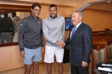Jo-Wilfried Tsonga and Rafael Nadal meet Kazakh president Nursultan Nazarbayev (2)