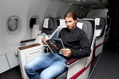 Rafael Nadal flies to Abu Dhabi (Photo: Qatar Airways)