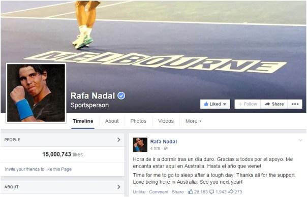 Rafael Nadal Facebook 15 million likes