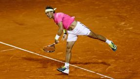 Nadal serves during his tennis match against Delbonis at the ATP Argentina Open in Buenos Aires