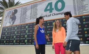 Rafael Nadal chats with Ana Ivanovic and Caroline Wozniacki at Indian Wells