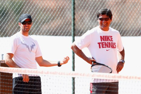 Rafael Maymo and Toni Nadal watching Rafa during his practice in Monte Carlo