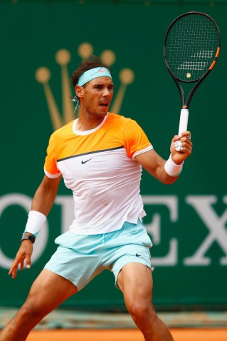 Rafael Nadal during the match against John Isner in Monte Carlo