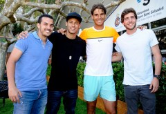 BARCELONA, SPAIN - APRIL 22: (L - R) players of FC Barcelona, Pedro, Neymar and Sergi Roberto pose for a photo with Rafael Nadal (2nd R) during day three of the Barcelona Open Banc Sabadell at the Real Club de Tenis Barcelona on April 22, 2015 in Barcelona, Spain. (Photo by fotopress/Getty Images)