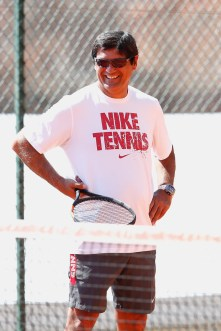 Toni Nadal watching Rafa during his practice in Monte Carlo
