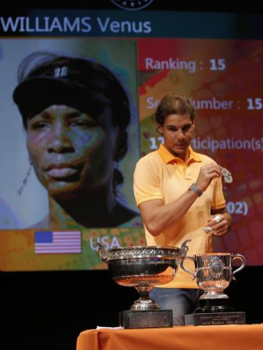 Defending champion Spain's Rafael Nadal shows a token during the draw for the French Tennis Open at the Roland Garros stadium, Friday, May 22, 2015 in Paris. The French Open starts Sunday. (AP Photo/Francois Mori)