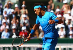 PARIS, FRANCE - MAY 30: Rafael Nadal of Spain celebrates match point in his Men's Singles match against Andrey Kuznetsov of Russia on day seven of the 2015 French Open at Roland Garros on May 30, 2015 in Paris, France. (Photo by Clive Mason/Getty Images)