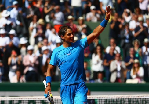 PARIS, FRANCE - MAY 30: Rafael Nadal of Spain celebrates victory in his Men's Singles match against Andrey Kuznetsov of Russia on day seven of the 2015 French Open at Roland Garros on May 30, 2015 in Paris, France. (Photo by Clive Mason/Getty Images)