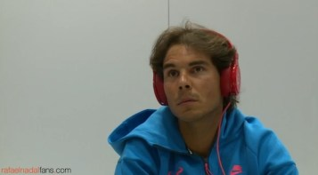 Rafael Nadal listens music in the locker room before the match French Open 2015