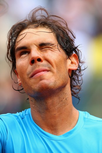 Rafael Nadal of Spain winks after victory in his Men's Singles match against Quentin Halys of France on day three of the 2015 French Open at Roland Garros on May 26, 2015 in Paris, France. (May 25, 2015 - Source: Clive Brunskill/Getty Images Europe)