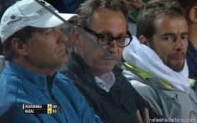 Toni Nadal Benito Perez Barbadillo Rafael Maymo watching Rafa in Rome