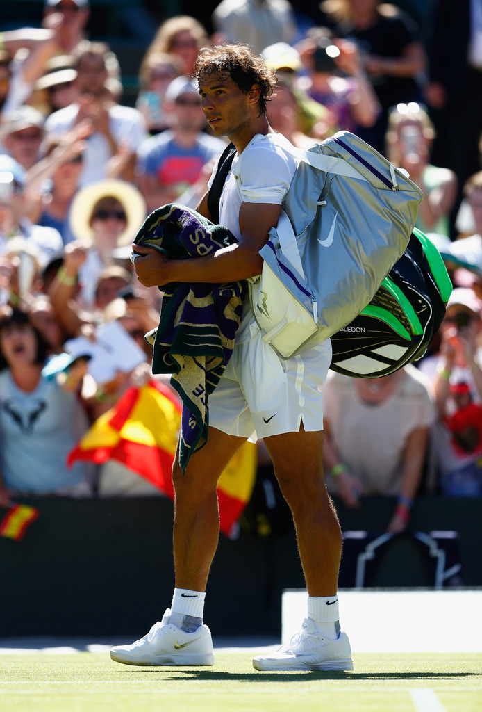 Rafael Nadal of Spain reacts following his Gentlemen's Singles first round match against Thomaz Bellucci of Brazil during day two of the Wimbledon Lawn Tennis Championships at the All England Lawn Tennis and Croquet Club on June 30, 2015 in London, England. (June 29, 2015 - Source: Julian Finney/Getty Images Europe)