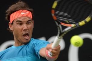 Rafael Nadal of Spain plays a forehand in the semifinal of the ATP tennis tournament against Monfils of France in Stuttgart, Germany, 13 June 2015. (Tenis, Francia, Alemania, España) EFE/EPA/Marijan Murat