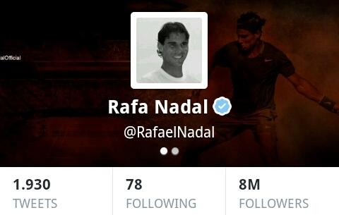 Rafael Nadal Reaches 8 Million Followers on Twitter