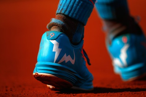 PARIS, FRANCE - JUNE 01: A detailed view of Rafael Nadal of Spain's shoe as he plays his Men's Singles match against Jack Sock of the United States on day nine of the 2015 French Open at Roland Garros on June 1, 2015 in Paris, France. (Photo by Julian Finney/Getty Images)