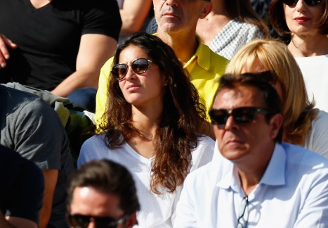 Girlfriend Xisca Perello watches Rafael Nadal of Spain in his Men's quarter final match against Novak Djokovic of Serbia on day eleven of the 2015 French Open at Roland Garros on June 3, 2015 in Paris, France. (June 2, 2015 - Source: Julian Finney/Getty Images Europe)