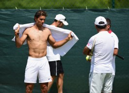 LONDON, ENGLAND - JUNE 27: Rafael Nadal of painduring a pratice session prior to the Wimbledon Lawn Tennis Championships at the All England Lawn Tennis and Croquet Club on June 27, 2015 in London, England. (Photo by Shaun Botterill/Getty Images)