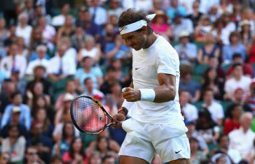 LONDON, ENGLAND - JULY 02: Rafael Nadal of Spain reacts in his Gentlemens Singles Second Round match against Dustin Brown of Germany during day four of the Wimbledon Lawn Tennis Championships at the All England Lawn Tennis and Croquet Club on July 2, 2015 in London, England. (Photo by Ian Walton/Getty Images)