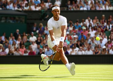 LONDON, ENGLAND - JULY 02: Rafael Nadal of Spain plays a volley in his Gentlemens Singles Second Round match against Dustin Brown of Germany during day four of the Wimbledon Lawn Tennis Championships at the All England Lawn Tennis and Croquet Club on July 2, 2015 in London, England. (Photo by Ian Walton/Getty Images)