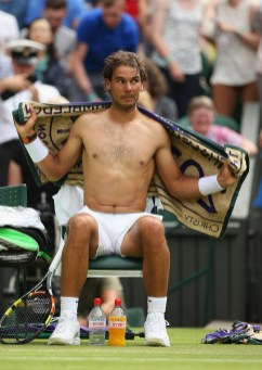 LONDON, ENGLAND - JULY 02: Rafael Nadal of Spain sits in his chair between games in his Gentlemens Singles Second Round match against Dustin Brown of Germany during day four of the Wimbledon Lawn Tennis Championships at the All England Lawn Tennis and Croquet Club on July 2, 2015 in London, England. (Photo by Ian Walton/Getty Images)