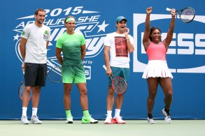 August 29, 2015 - (L-R) Marin Cilic, Rafael Nadal, Roger Federer and Serena Williams participate in Arthur Ashe Kids' Day during the 2015 US Open at the USTA Billie Jean King National Tennis Center in Flushing, NY. - USTA/Jen Pottheiser