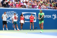 August 29, 2015 - (L-R) Marin Cilic, Roger Federer, Serena Williams, Elizabeth Scotty and Rafael Nadal participate in Arthur Ashe Kids' Day during the 2015 US Open at the USTA Billie Jean King National Tennis Center in Flushing, NY. - USTA/Jen Pottheiser