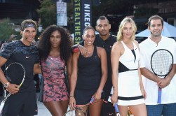 "NEW YORK, NY - AUGUST 24: (L-R) Tennis players Rafael Nadal, Serena Williams, Madison Keys, Nick Kyrgious, Maria Sharapova, and Pete Sampras attend Nike's ""NYC Street Tennis"" event on August 24, 2015 in New York City. (Photo by Gary Gershoff/WireImage)"