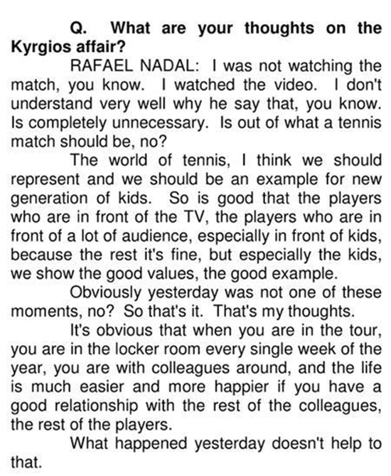 Nadal talks about the Kyrgios incident (1)