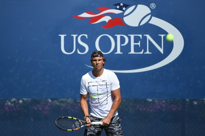 August 27, 2015 - Rafael Nadal practices for the 2015 US Open at the USTA Billie Jean King National Tennis Center in Flushing, NY. USTA/Pete Staples