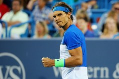 CINCINNATI, OH - AUGUST 20: Rafael Nadal of Spain celebrates after winning the first set against Feliciano Lopez of Spain during Day 6 of the Western & Southern Open at the Lindner Family Tennis Center on August 20, 2015 in Cincinnati, Ohio. (Photo by Maddie Meyer/Getty Images)