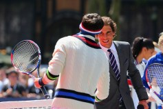 NEW YORK, NY - AUGUST 25: Arthur Kulkov and Tommy Hilfiger play tennis at the Tommy Hilfiger and Rafael Nadal Global Brand Ambassadorship Launch at Bryant Park on August 25, 2015 in New York City. (Photo by Mike Stobe/Getty Images for Tommy Hilfiger)