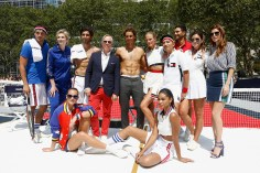 NEW YORK, NY - AUGUST 25: (L-R): Arthur Kulkov, Jane Lynch, Hannah Davis, Akin Akman, Tommy Hilfiger, Rafael Nadal, Constance Jablonski, Bryanboy, Chanel Iman, Noah Mills, Danielle Bernstein and Lake Bell pose at the Tommy Hilfiger and Rafael Nadal Global Brand Ambassadorship Launch at Bryant Park on August 25, 2015 in New York City. (Photo by Jeff Zelevansky/Getty Images for Tommy Hilfiger)