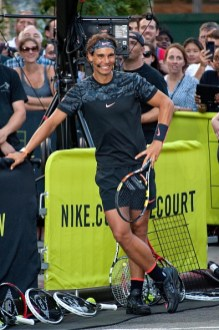 "NEW YORK, NY - AUGUST 24: Rafael Nadal attends Nike's ""NYC Street Tennis"" event on August 24, 2015 in New York City. (Photo by D Dipasupil/FilmMagic)"