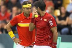 Rafael Nadal and Fernando Verdasco of Spain during their men's doubles Davis Cup tennis match against Denmark in Odense, Denmark September 19, 2015. REUTERS/Frank Cilius/Scanpix Denmark