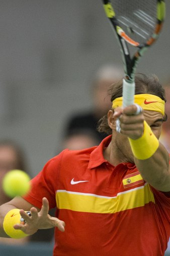 Rafael Nadal of Spain during a men's doubles Davis Cup tennis match against Denmark in Odense, Denmark September 19, 2015. REUTERS/Frank Cilius/Scanpix Denmark ATTENTION EDITORS - THIS IMAGE HAS BEEN SUPPLIED BY A THIRD PARTY. IT IS DISTRIBUTED, EXACTLY AS RECEIVED BY REUTERS, AS A SERVICE TO CLIENTS. FOR EDITORIAL USE ONLY. NOT FOR SALE FOR MARKETING OR ADVERTISING CAMPAIGNS. DENMARK OUT. NO COMMERCIAL OR EDITORIAL SALES IN DENMARK.