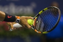 Rafael Nadal of Spain serves to Borna Coric of Croatia during their match at the U.S. Open Championships tennis tournament in New York, August 31, 2015. REUTERS/Lucas Jackson