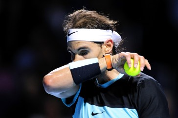 BASEL, SWITZERLAND - OCTOBER 28: Rafael Nadal of Spain looks dejected after missing a point during the second day of the Swiss Indoors ATP 500 tennis tournament against Grigor Dimitrov of Bulgaria at St Jakobshalle on October 28, 2015 in Basel, Switzerland. (Photo by Harold Cunningham/Getty Images)
