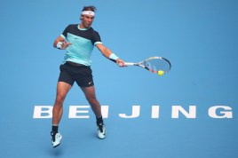 Rafael Nadal of Spain plays a forehand in his match against Di Wu of China during day 4 of the 2015 China Open at the National Tennis Centre on October 6, 2015 in Beijing, China. (Oct. 5, 2015 - Source: Chris Hyde/Getty Images AsiaPac)
