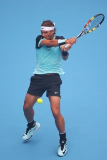 Rafael Nadal of Spain plays a backhand in his match against Di Wu of China during day 4 of the 2015 China Open at the National Tennis Centre on October 6, 2015 in Beijing, China. (Oct. 5, 2015 - Source: Chris Hyde/Getty Images AsiaPac)